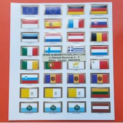 .JUEGO DE BANDERAS PARA HOJAS PARDO MONEDAS 18 PAISES EURO