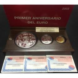 ESPAÑA 10 EUROS 2003 + 50 EUROS 2003 + 200 EUROS 2003 ANIVERSARIO DEL EURO 3 MONEDAS ORO y PLATA ESTUCHE FNMT