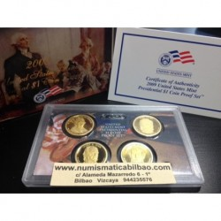 2009 UNITED STATES MINT PRESIDENTIAL $1 COIN PROOF SET ESTADOS UNIDOS Estuche Oificial con 4 Monedas 1 DOLAR 2009 PRESIDENTES