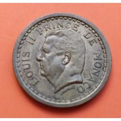 MONACO 2 FRANCS 1943 LUIS II ALUMINIO KM*121 XF+