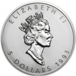 CANADA 5 DOLARES 1993 HOJA DE ARCE PLATA PURA SC SILVER DOLLAR