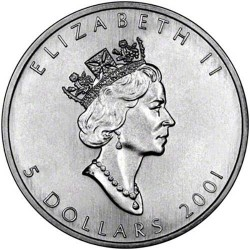 CANADA 5 DOLARES 2001 HOJA DE ARCE PLATA PURA SC SILVER DOLLAR