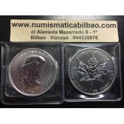 CANADA 5 DOLARES 2009 HOJA DE ARCE MONEDA DE PLATA PURA 9999 $5 DOLLARS SILVER COIN MAPLE LEAF 1 ONZA