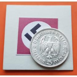 GERMANY 5 REICHSMARK 1935 J HINDENBURG SILVER NAZI WWII 2