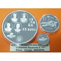 . 1 EURO + 5 EUROS + 25 EUROS 1997 AVIACION ESPAÑA PLATA SET FNM