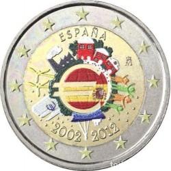.ESPAÑA 2 EUROS COLORES 2012 X ANIVERSARIO SIN CIRCULAR