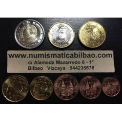ESPAÑA MONEDAS EURO 2008 SIN CIRCULAR 1+2+5+10+20+50 Centimos 1 EURO + 2 EUROS 2008 REY JUAN CARLOS I Spain Espagne euro coins