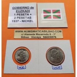 1+2 PESETAS 1937 GOBIERNO DE EUSKADI NICKEL BILBAO Euzkadi (2)
