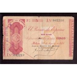 1936 EUSKADI 5 PESETAS BANCO de BILBAO Serie A 042210