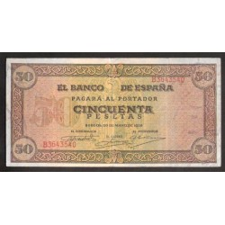 ..ESPAÑA 50 PESETAS 1938 MAYO 20 CASTILLO de OLITE Serie B EBC-