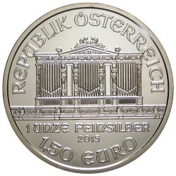 . AUSTRIA 1,50 EUROS 2015 FILARMONICA PLATA Silver 1 Oz
