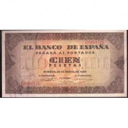 ESPAÑA 100 PESETAS 1938 MAYO 20 BURGOS Serie D SC- Pick 113