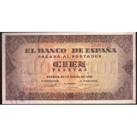 ESPAÑA 100 PESETAS 1938 BURGOS CASA DEL CORDON Serie D 6888376 Pick 113 BILLETE EBC+ Spain banknote