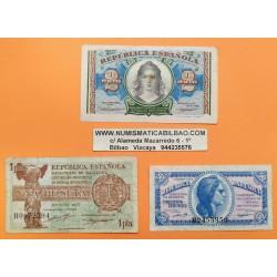 3 billetes x ESPAÑA 50 CENTIMOS 1937 + 1 PESETA 1937 + 2 PESETAS 1938 REPUBLICA ESPAÑOLA DAMA Serie A+B Pick 93 94 95 CIRCULADOS