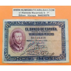 ESPAÑA 25 PESETAS 1926 SAN FRANCISCO JAVIER Serie B 9110418 Pick 71 BILLETE MBC- @RARO@ Spain banknote