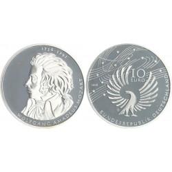 @PROOF@ ALEMANIA 10 EUROS 2006 D WOLFGANG AMADEUS MOZART FAMOSO MUSICO y COMPOSITOR KM.248 MONEDA DE PLATA