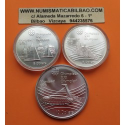 3 monedas x CANADA 5 DOLARES 1973 + 5 DOLARES 1976 + 10 DOLARES 1976 OLIMPIADA DE MONTREAL 76 SC 2,90 ONZAS de PLATA PURA