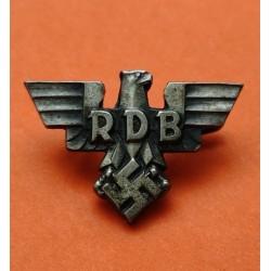 .ALEMANIA III REICH PIN DE AGUJA 1938 RDB AGUILA y ESVASTICA FUNCIONARIOS DEL PARTIDO NAZI tipo 2 (WK) 100% ORIGINAL