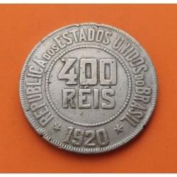 BRASIL 400 REIS 1920 ALEGORIA y VALOR EN ORLA KM.520 MONEDA DE NICKEL MBC++ Brazil