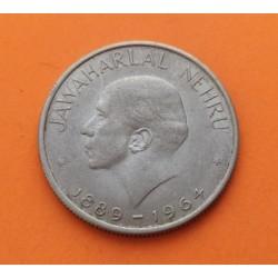 INDIA 50 PAISE 1964 1889 J. NEHRU KM 56 MONEDA DE NICKEL MBC+ sombras