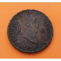ESPAÑA Rey FERNANDO VII 8 MARAVEDIES 1815 Ceca de JUBIA KM.502 MONEDA DE COBRE MBC- Spain 8 Maravedis