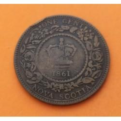 CANADA 1 PENIQUE 1861 Región de NOVA ESCOCIA MONEDA DE BRONCE @DESGASTE@