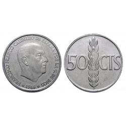 ESPAÑA 50 CENTIMOS 1966 * 19 71 FRANCO SIN CIRCULAR ALUMINIO