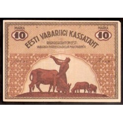 ESTONIA 10 MARKA 1919 FARMERS XF+ PICK 46 D