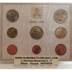 VATICANO CARTERA EUROS 2009 SET 1+2+5+10+20+50 Centimos 1+2€