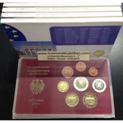 @OFERTA@ ALEMANIA 5 CARTERAS EURO 2002 Letras A+D+F+G+J estuches PROOF SET SC 1+2+5+10+20+50 Centimos + 1 EURO + 2 EUROS 2002