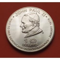 . DOMINICA 10 DOLARES 1979 PAPA JUAN PABLO II PLATA KM*16 Dollar
