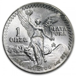 MEXICO 1 ONZA 1985 ANGEL PLATA PURA SC ONZA SILVER UNC