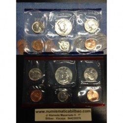 1991 UNITED STATES MINT UNCIRCULATED COIN SET D+P 10 COINS ESTADOS UNIDOS 1+5+10+25 CENTAVOS + 1/2 DOLAR KENNEDY