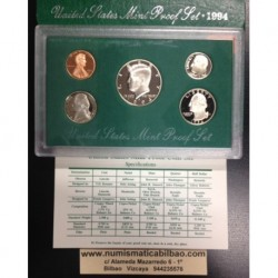1994 UNITED STATES MINT PROOF SET ESTADOS UNIDOS 1+5+10+25 CENTAVOS 1/2 DOLAR 1994 KENNEDY NICKEL