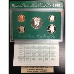 1995 UNITED STATES MINT PROOF SET ESTADOS UNIDOS 1+5+10+25 CENTAVOS 1/2 DOLAR 1995 KENNEDY NICKEL