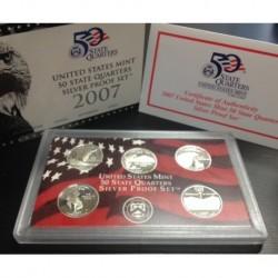2007 UNITED STATES MINT 50 STATE QUARTERS 25 CENTAVOS SILVER PROOF SET 5 x 25 CENTAVOS PLATA Estados Unidos