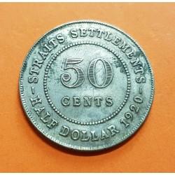 . ESTRECHOS MALAYOS 50 CENTIMOS 1920 PLATA STRAITS SETTLEMENTS K