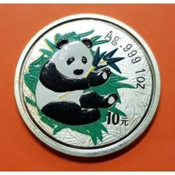 CHINA 10 YUAN 2000 OSO PANDA PLATA SC SILVER @RARA@ Silber