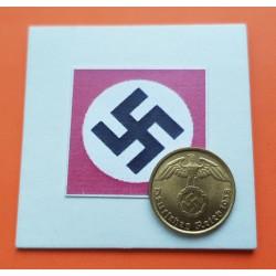 GERMANY DRITTES REICH - 5 REICHSPFENNIG 1938 D BRASS UNC+ 2