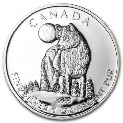 CANADA $5 DOLARES 2011 LOBO WOLF PLATA SC Silver Dollar 1oz