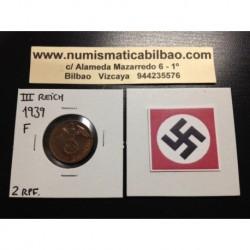 ALEMANIA 2 REICHSPFENNIG 1939 F ESVASTICA NAZI III REICH MONEDA DE COBRE @LUJO@