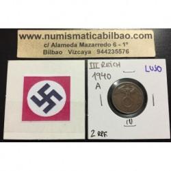ALEMANIA 2 REICHSPFENNIG 1940 A ESVASTICA NAZI III REICH MONEDA DE COBRE @LUJO@ 1