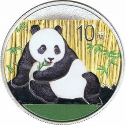 . CHINA 10 YUAN 2015 @OSO PANDA A COLORES@ PLATA SILVER 1 oz