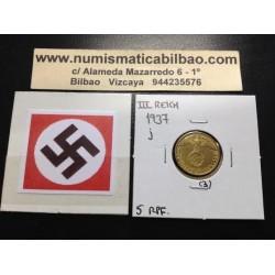 ALEMANIA 5 REICHSPFENNIG 1937 J ESVASTICA NAZI III REICH MONEDA DE LATON EBC 3