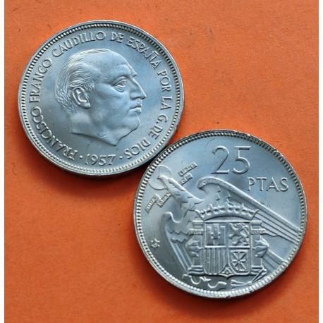 ESPAÑA 25 PESETAS 1957 * 65 FRANCO SIN CIRCULAR NICKEL SI PLUS