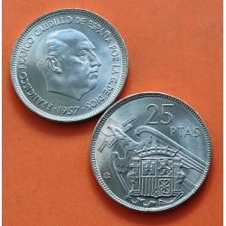 ESPAÑA 25 PESETAS 1957 * 66 FRANCO SIN CIRCULAR NICKEL SI PLUS
