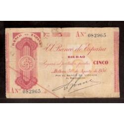 1936 EUSKADI 5 PESETAS BANCO de VIZCAYA Serie A 082965 MBC