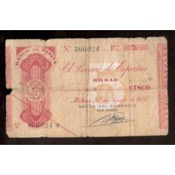 1936 EUSKADI 5 PESETAS BANCO del COMERCIO @INEDITO@ 366024