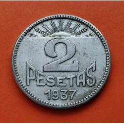 ASTURIAS y LEON 2 PESETAS 1937 DAMA EBC+ NICKEL ESPAÑA