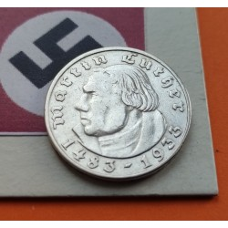ALEMANIA 2 MARCOS 1933 A MARTIN LUTHER III REICH NAZI PLATA 1
